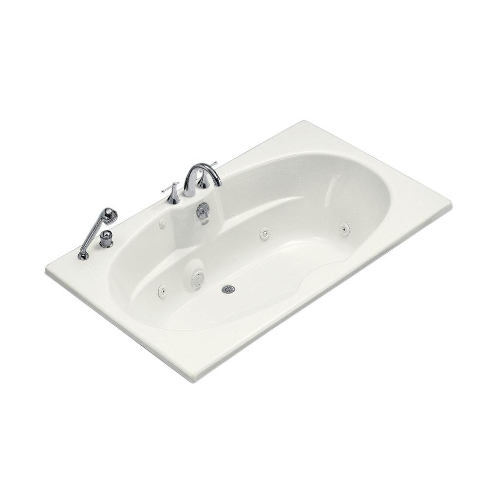 KOHLER 6 ft. Whirlpool Tub with Heater and Center Drain in White-K ...