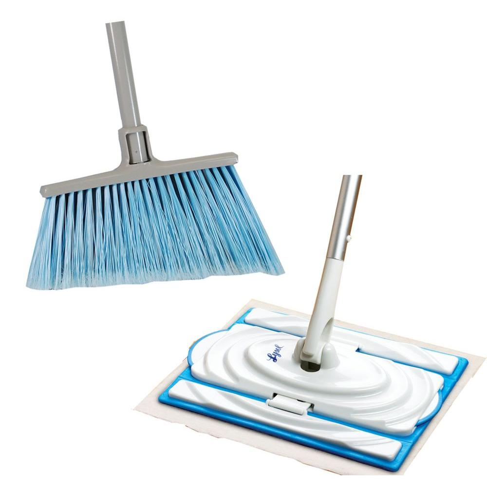 Quickie Homepro Angle Broom and Lysol Clean-Flip Combo Pack-DISCONTINUED