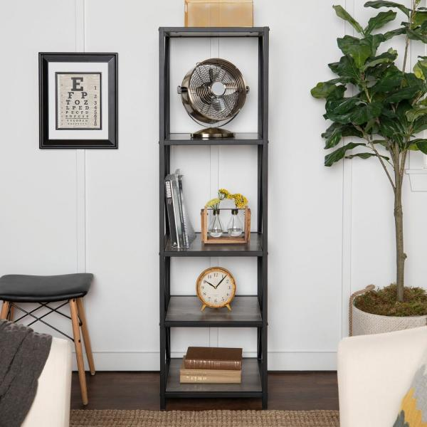 61 in. Gray Wash/Black Metal 4-shelf Etagere Bookcase with Open Back