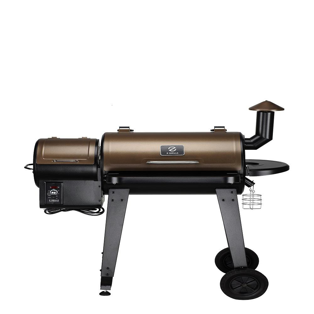 Elite Pellet Grill in Bronze/Black The Next Generation Grills-Z Grills wood pellet technology gets you wood fire flavor at the convenience of propane or gas. Super versatile and wide temperature range from 180 to 450 to grill, smoke, bake, roast, braise, BBQ or sear. Automated pellet feed system is designed to control the speed of wood pellet distribution with no unnecessary reloading. Color: Bronze.