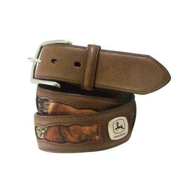 38MM GENUINE LEATHER BELT STRAP WITH FABRIC CAMO. INSETS + JD CONCHO IN BETWEEN/NR BUCKLE.