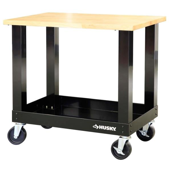 3 ft. Portable Solid Wood Top Workbench with Casters