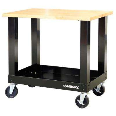 3 ft. Mobile Solid Wood Top Workbench