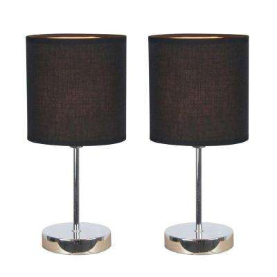 11.89 in. Chrome Mini Basic Table Lamps with Black Fabric Shades (2-Pack)