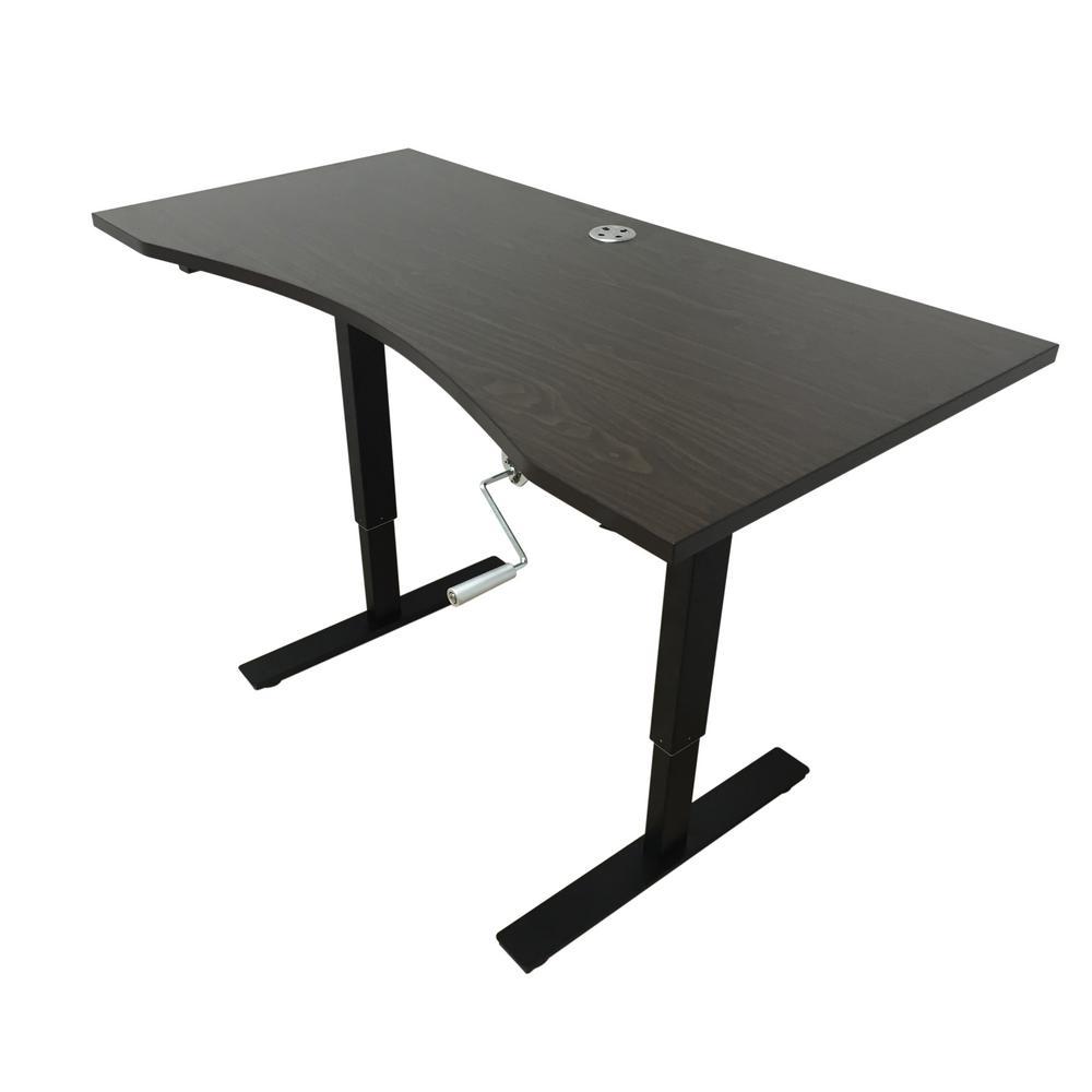 Dark Brown Desk with Adjustable Height