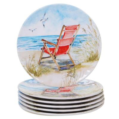 Ocean View 6-Piece Coastal Multi-colored Melamine Outdoor 9 in. Salad/Dessert Plate Set (Service for 6)