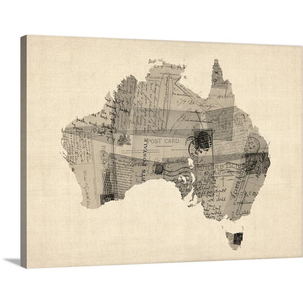 Australia Map Art.Old Postcard Map Of Australia Map By Michael Tompsett Canvas Wall Art