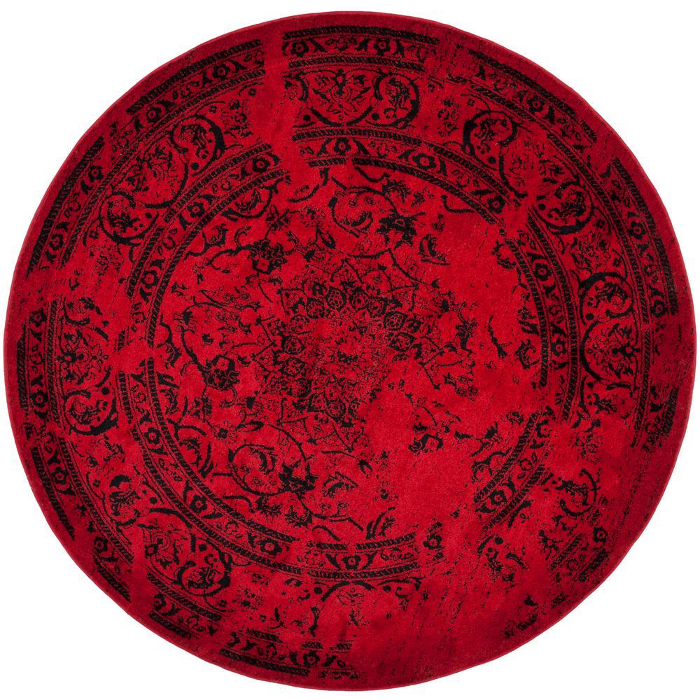 Adirondack Red/Black 8 ft. x 8 ft. Round Area Rug