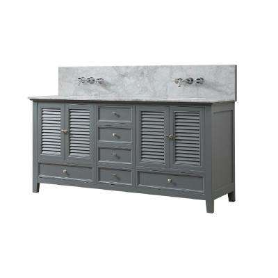 Shutter Premium 72 in. W Bath Vanity in Gray with Carrara White Marble Vanity Top with White Basins