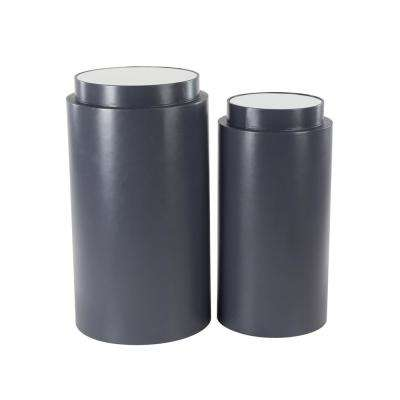 Black Cylindrical Wooden Pedestals with White Tabletop (Set of 2)