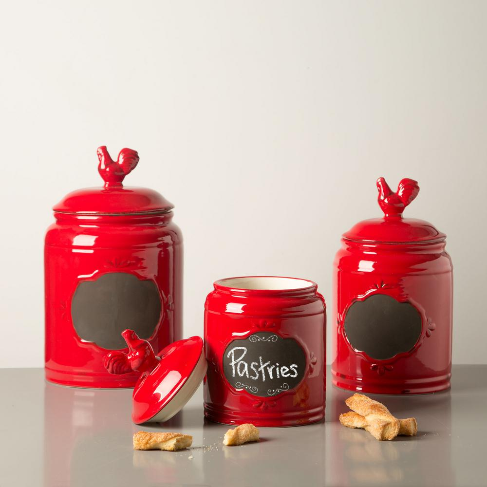 Home Essentials Beyond Red Ceramic Chalkboard Canisters Set Of