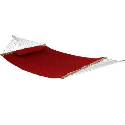 10-1/2 ft. Quilted Double 2-Person Hammock with Spreader Bars and Pillow in Red