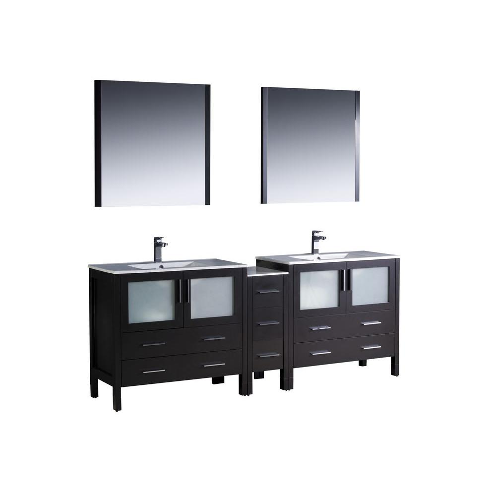 Fresca Torino 84 in. Double Vanity in Espresso with Ceramic Vanity Top in White with White Basins and Mirrors