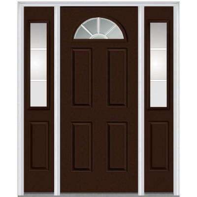64 in. x 80 in. Internal Grilles Right-Hand 1/4-Lite Clear Painted Fiberglass Smooth Prehung Front Door with Sidelites