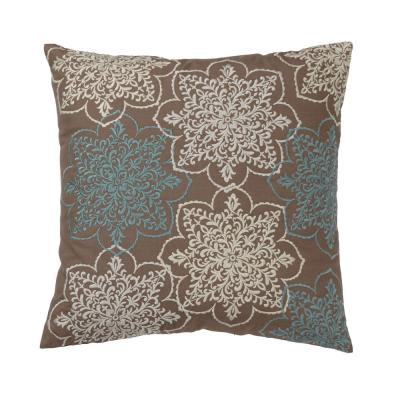 Embroidered Ivory Crystal 20 in. x 20 in. Decorative Throw Pillow Cover