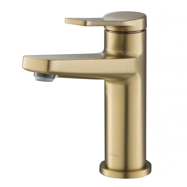 Indy Single Hole Single-Handle Basin Bathroom Faucet in Brushed Gold