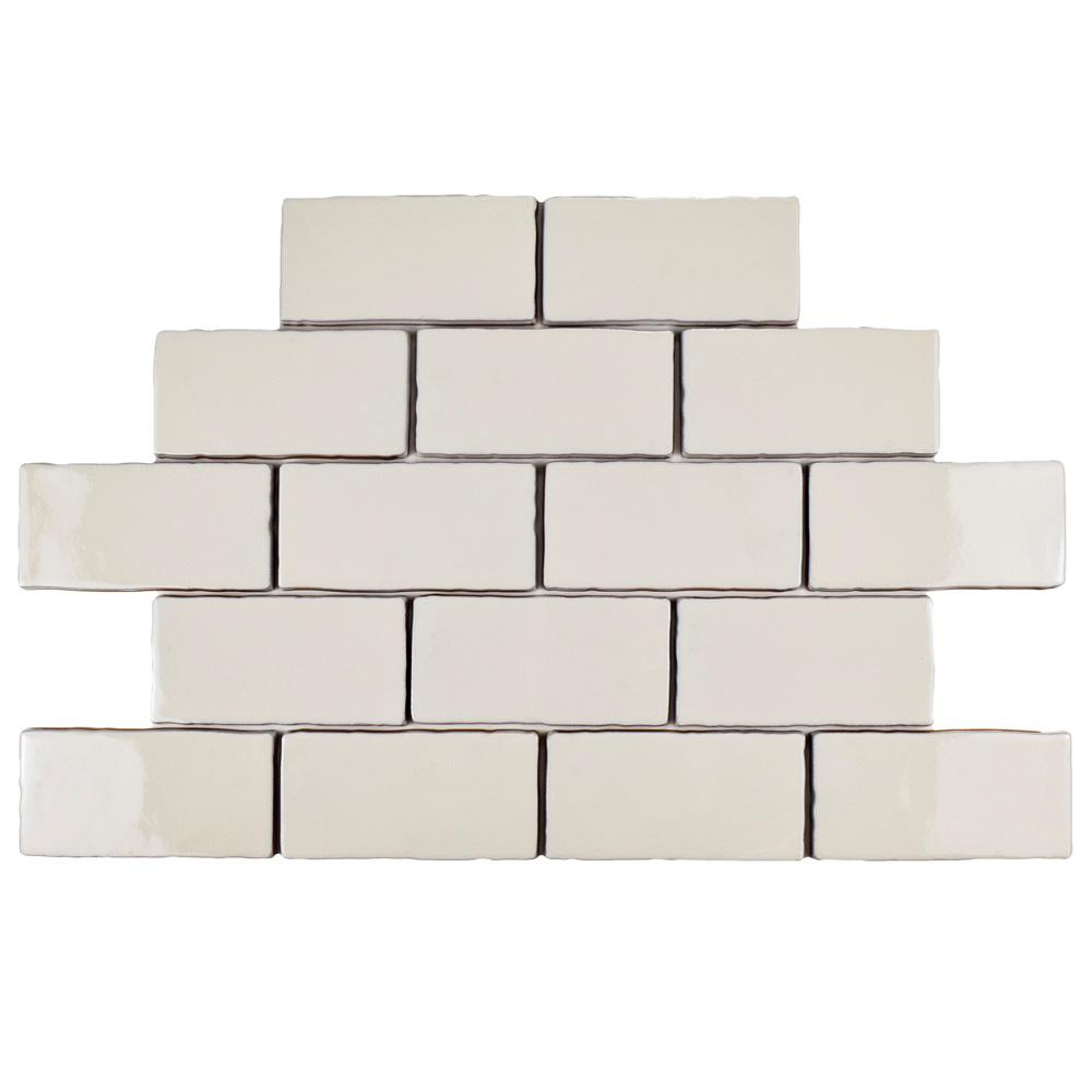 Merola Tile Antic Craquelle White 3 in. x 6 in. Ceramic Wall Tile (2 sq. ft. / pack)