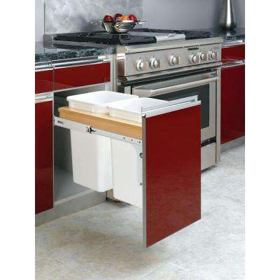 17.75 in. H x 19.5 in. W x 23.25 in. D Double 35 Qt. Pull-Out Top Mount Wood and White Waste Container for Frameless