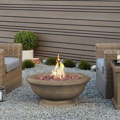 Treviso Round 32 in. Fiber-Cast Concrete Fire Pit in Dove Gray with Natural Gas Conversion Kit
