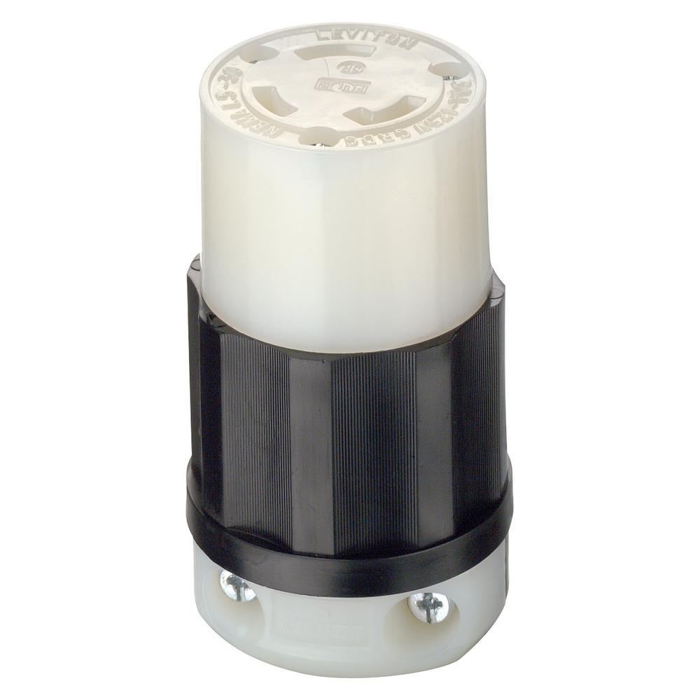 30 Amp 125-Volt Locking Grounding Connector, Black/White