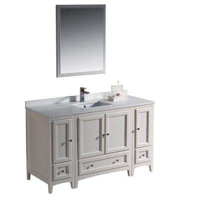 Warwick 54 in. Bathroom Vanity in Antique White with Quartz Stone Vanity Top in White with White Basin and Mirror