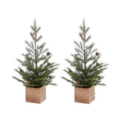 24 in. H Pine Tree in Wood Panelled Box with Mini Pine Cones