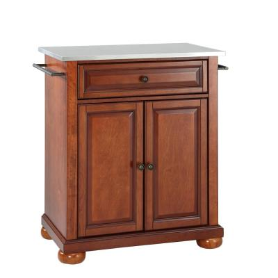 Alexandria Portable Kitchen Island with Stainless Steel Top