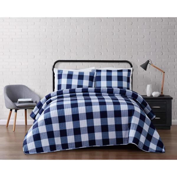 Queen or King Navy Stripe Plaid Checkered Quilt Bedding Set Blue Grey and White