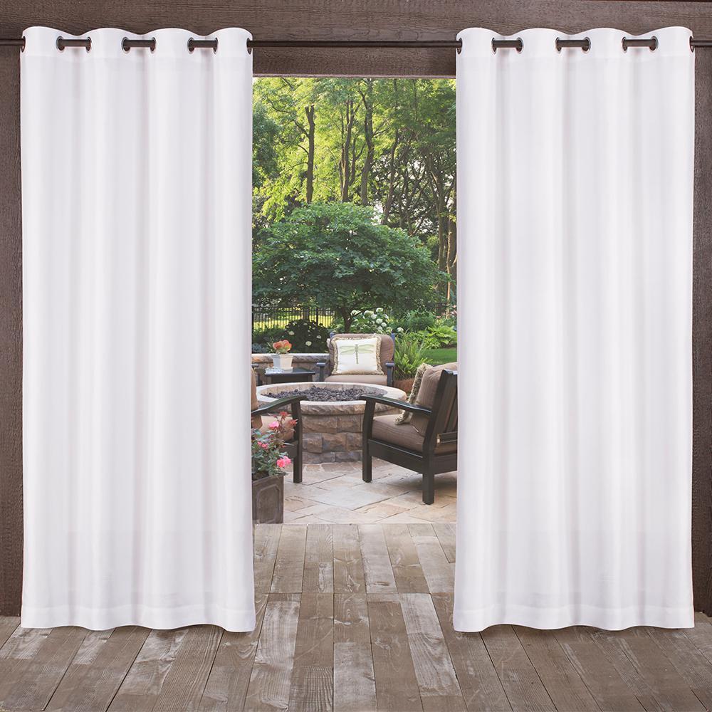 Biscayne Winter White Indoor/Outdoor 2-Tone Textured Grommet Top Window Curtain