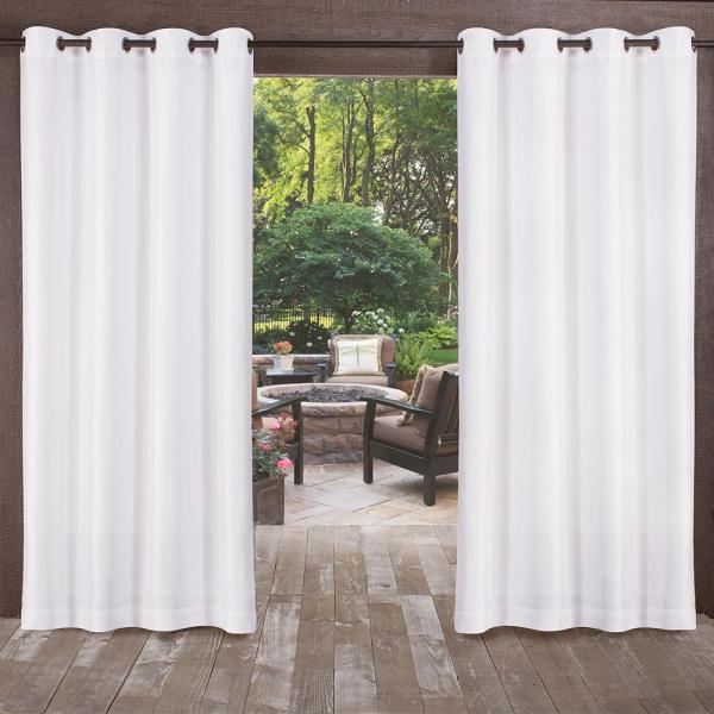 Biscayne 54 in. W x 84 in. L Indoor Outdoor Grommet Top Curtain Panel in Winter White (2 Panels)