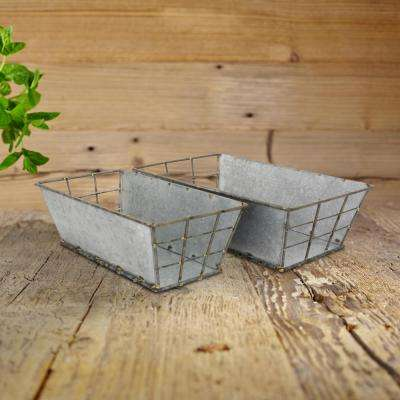 15 in. x 4 in. Rectangular Antique Galvanized Metal Baskets (Set of 2)