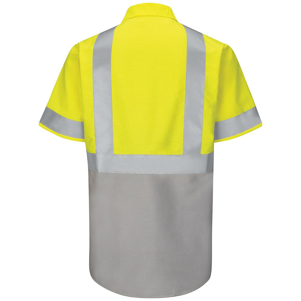 new style 58d92 c3ae5 Red Kap Class 2 Level 2 Men's 2X-Large (Tall) Yellow/Green with Grey  Ripstop Hi-Visibility Color Block Work Shirt