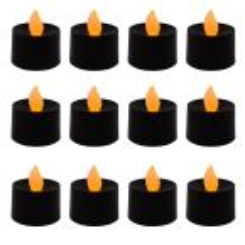 Black LED Tea Light Candles (Set of 12)