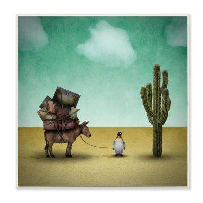 "12 in. x 12 in. ""Surreal Penguin Traveling The Desert with A Donkey Illustration"" by Greg Noblin Wood Wall Art"