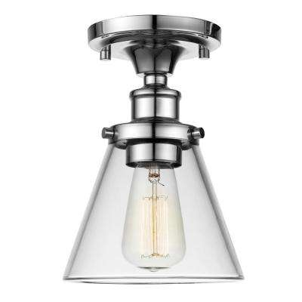 Mercer 1-Light Chrome Flush Mount Ceiling Light