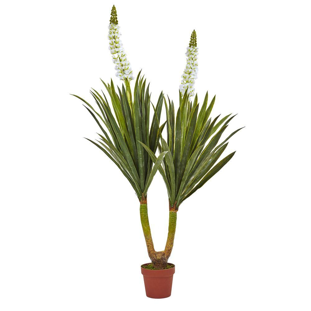 nearly natural 57 in flowering yucca plant 6864 the home depot. Black Bedroom Furniture Sets. Home Design Ideas