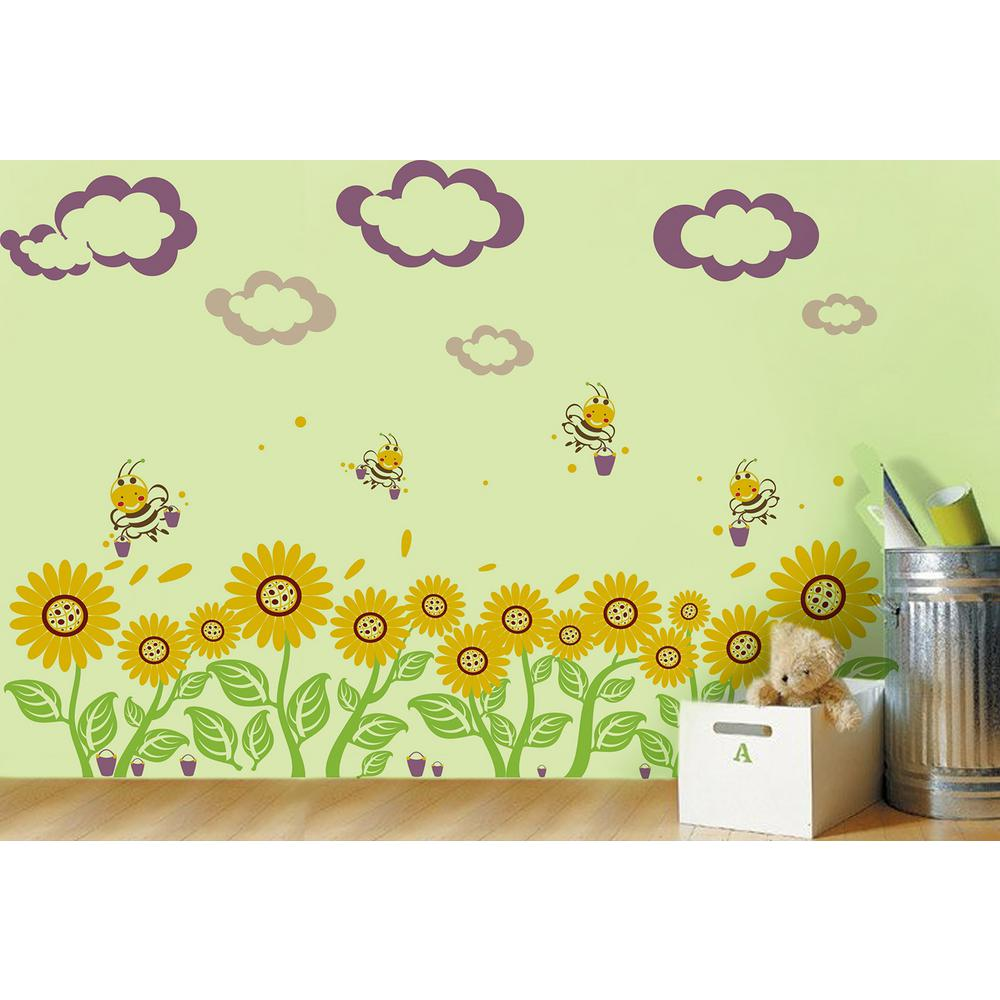 Pop Decors 110 in. x 30 in. Violet Clouds and Bucket Sunflowers ...