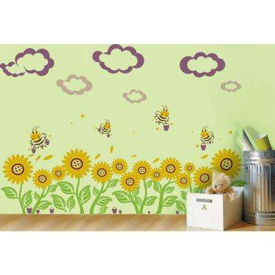 110 in. x 30 in. Violet Clouds and Bucket Sunflowers Floral Removable Wall Decal