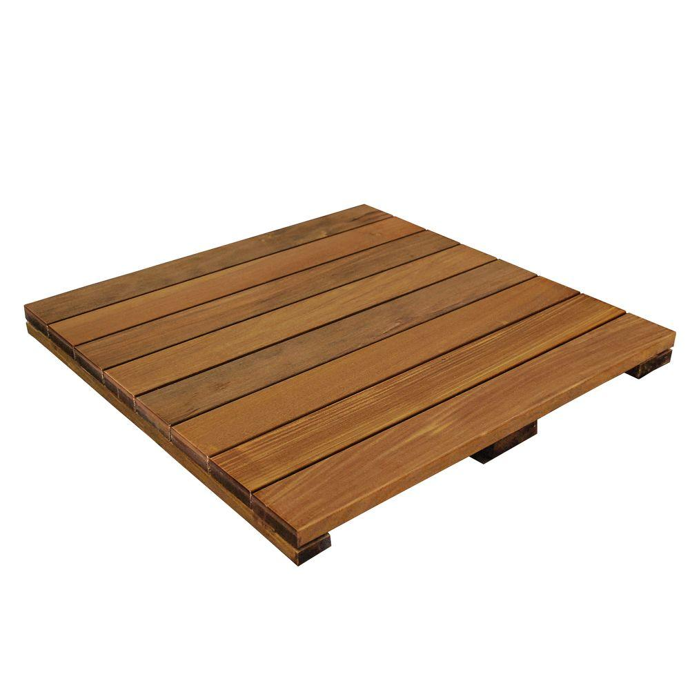 WiseTile 2 ft. x 2 ft. Solid Hardwood Deck Tile in