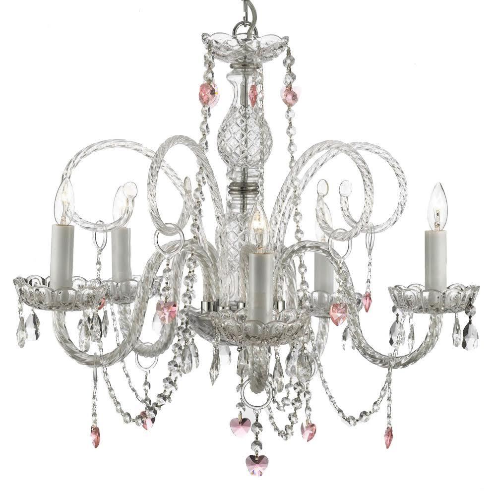 5 light venetian style empress crystal chandelier with pink crystal 5 light venetian style empress crystal chandelier with pink crystal hearts aloadofball