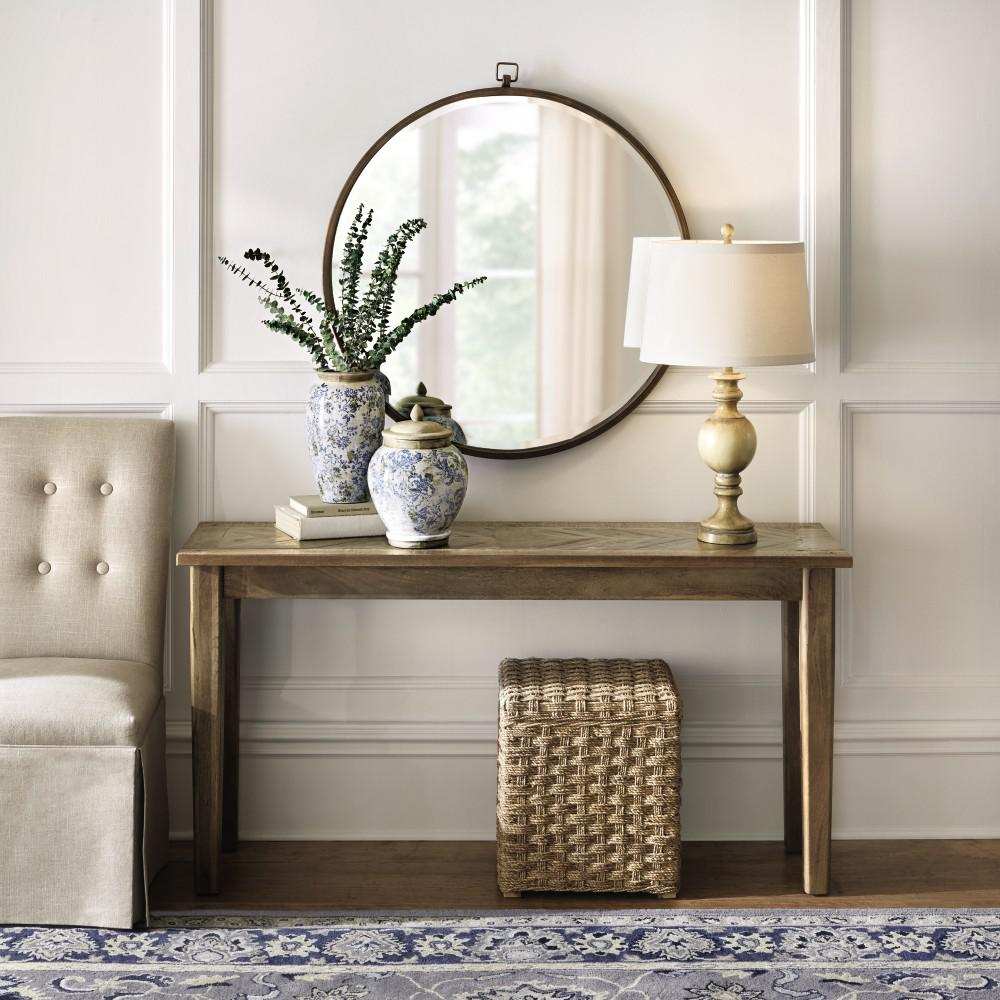 The home depot parquetry french grey console table geotapseo Choice Image