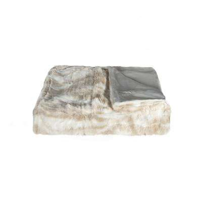 50 in. x 60 in. Faux Fur Timber Wolf Throw