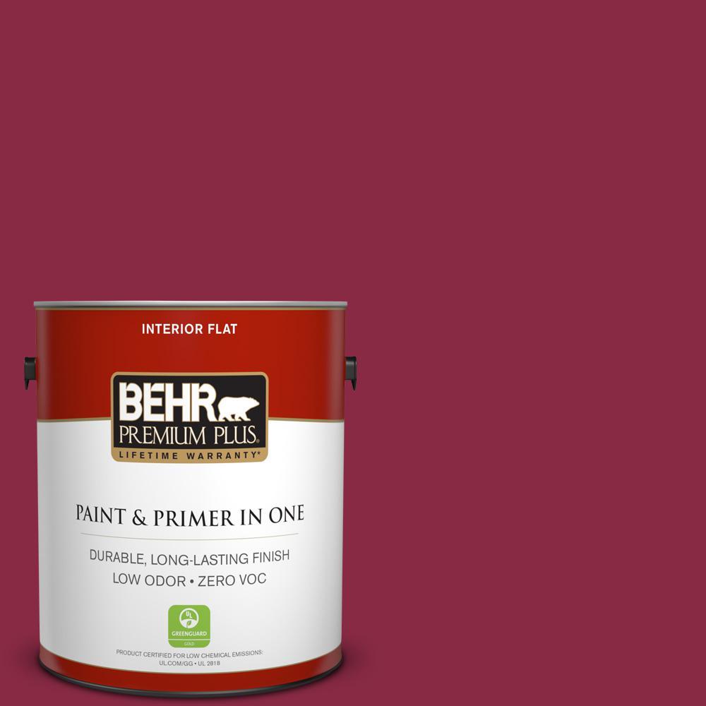 BEHR Premium Plus 1-gal. #130D-7 Cranapple Zero VOC Flat Interior Paint