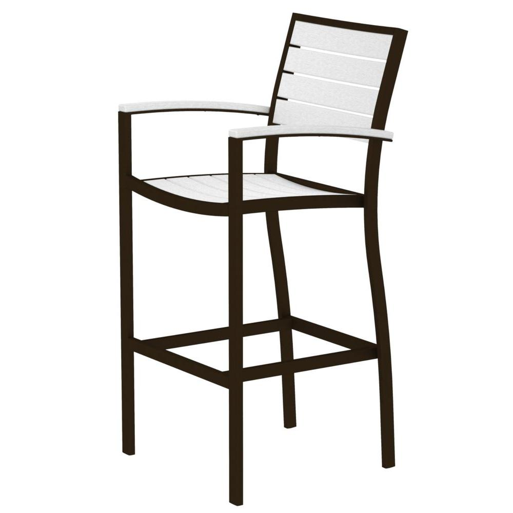 Euro Textured Bronze All-Weather Aluminum/Plastic Outdoor Bar Arm Chair in White