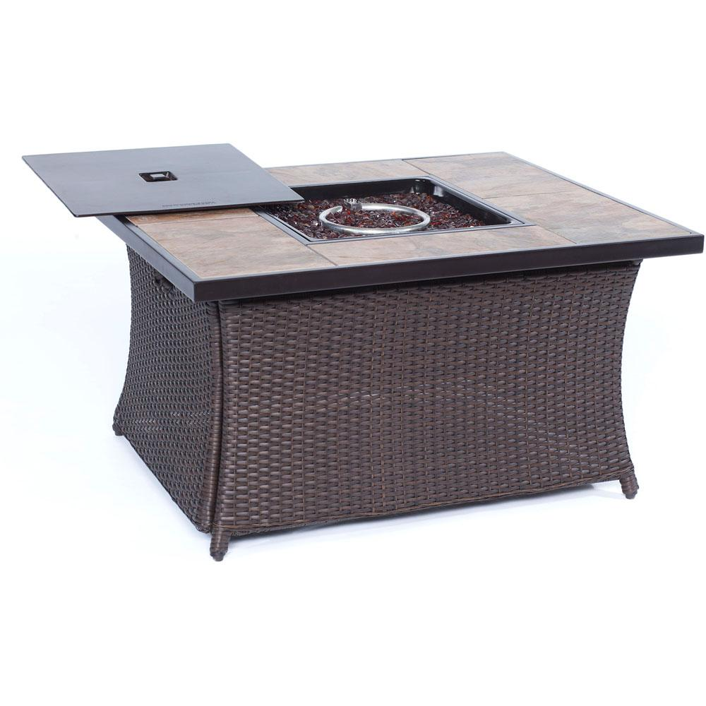 9.8 in. Wicker Fire Pit Table in Brown with Porcelain Stone
