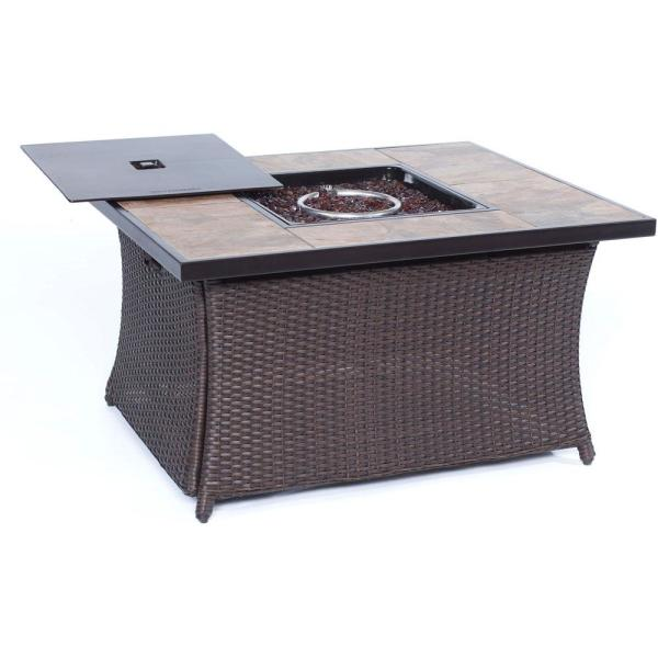 9.8 in. Wicker Fire Pit Table in Brown with Porcelain Stone Tile-Top