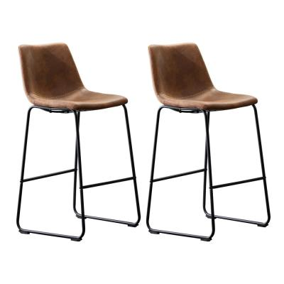 Clermont 39 in. Brown Upholstered Bar Stool (Set of 2)