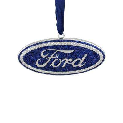 4 in officially licensed blue ford in logo silver plated christmas tree ornament - Silver Plated Christmas Tree Decorations