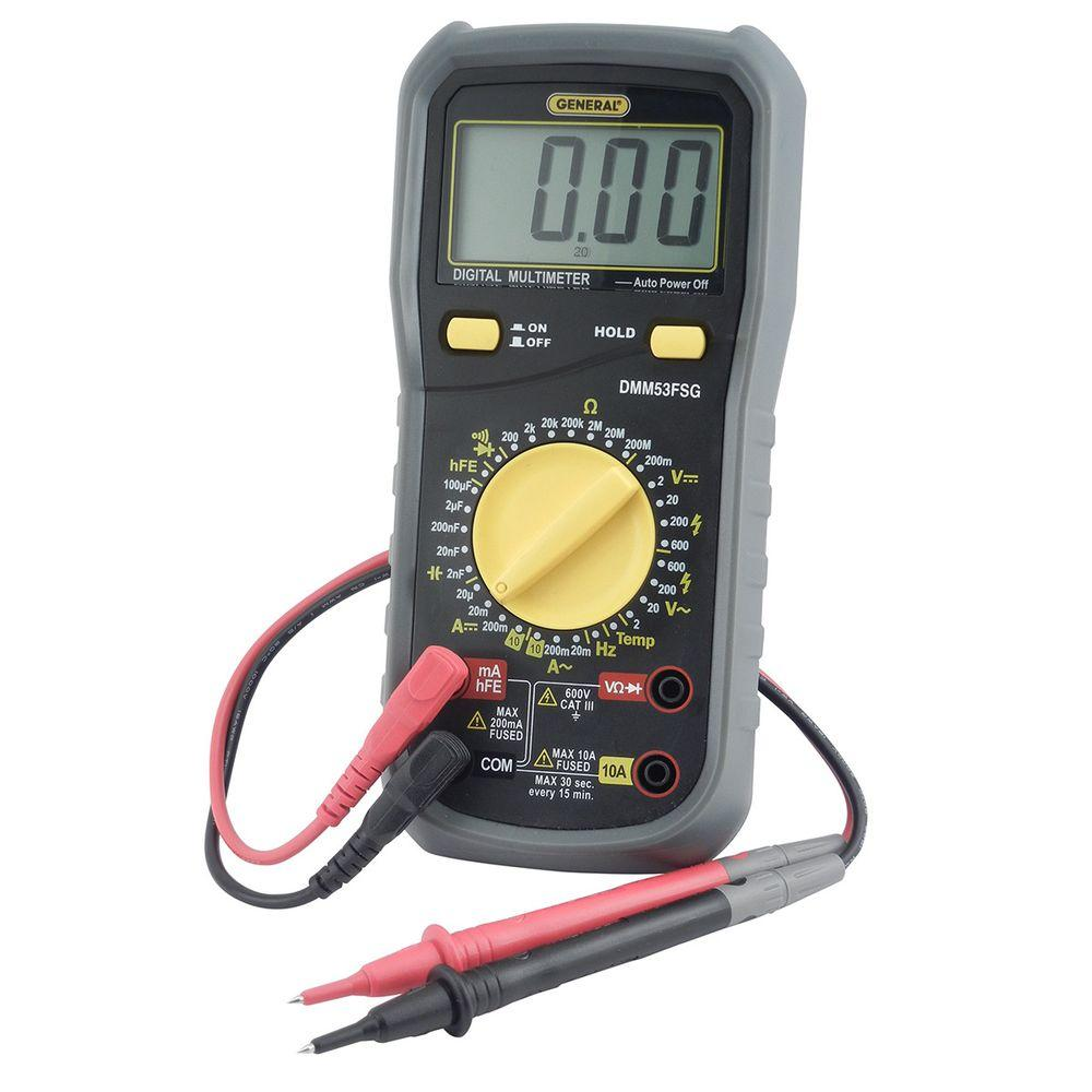 General Tools Rugged CAT III 600-Volt Multi-Meter with Mi...