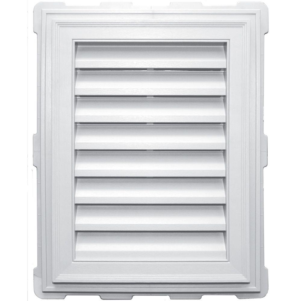 Builders Edge 18 in. x 24 in. Classic Brickmould Gable Vent in White